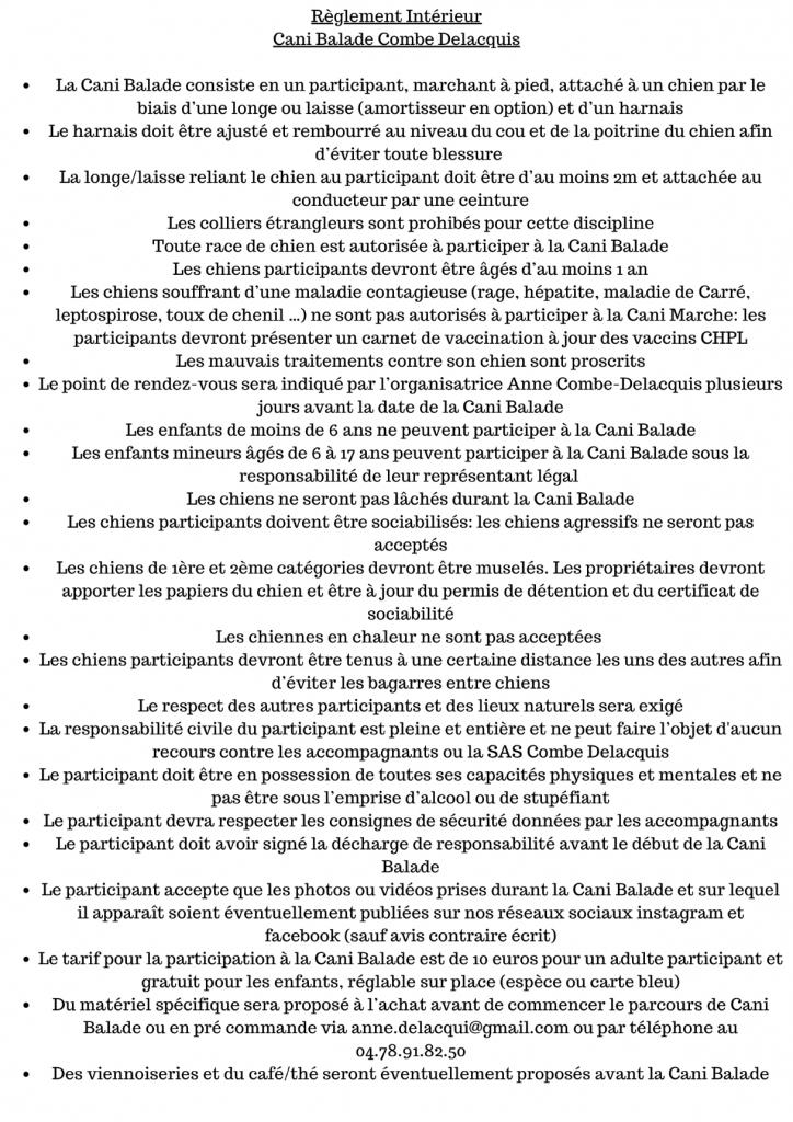 reglement 724x1024 - La Cani-Marche ou Cani-balade : un loisir canin de groupe